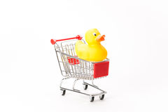 Caddy for shopping with duck Stock Photos