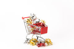 Caddy for shopping with gift Royalty Free Stock Photo
