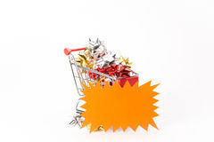 Caddy for shopping with gift Royalty Free Stock Image