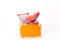 Caddy for shopping with gift Royalty Free Stock Images