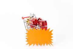 Caddy for shopping with gift Stock Photos