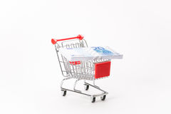 Caddy for shopping with money stack Royalty Free Stock Photography