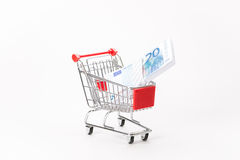 Caddy for shopping with money stack Royalty Free Stock Photos