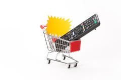 Caddy for shopping with remote control Stock Photos