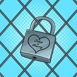Cadeado com ilustração do vetor do pop art do coração Foto de Stock Royalty Free