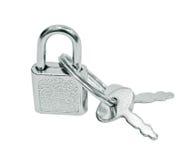 Cadeado da mala de viagem com chaves Imagens de Stock