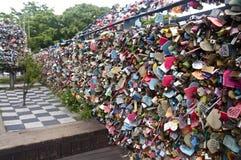 Cadeado da torre de Seoul N foto de stock
