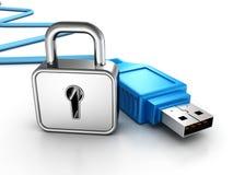 Cadeado de prata e cabo azul da conexão do USB Fotos de Stock Royalty Free
