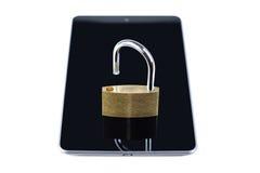 Cadeado destravado em um tablet pc Fotos de Stock Royalty Free