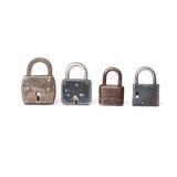 Cadeado diferentes dos tipos com furo chave branco Foto de Stock Royalty Free