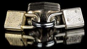 3 cadeado diferentes ligados junto Foto de Stock Royalty Free