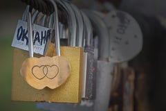 Cadeado do amor do ouro em uma ponte Fotos de Stock Royalty Free
