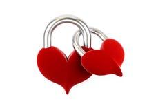 Cadeado do coração em um fundo branco. Imagem de Stock