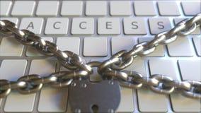 Cadeado e correntes no teclado com texto do ACESSO Anima??o 3D conceptual video estoque
