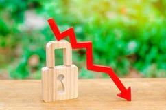 Cadeado e seta que apontam para baixo O conceito da segurança e da integridade de dados pessoais Risco e perigo aumentados, prote imagens de stock royalty free