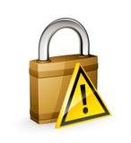 Cadeado e sinal de aviso Imagem de Stock Royalty Free