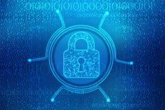 Cadeado fechado no fundo digital do fundo, da segurança do Cyber e da segurança do Internet ilustração stock