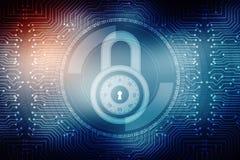 Cadeado fechado no fundo digital do fundo, da segurança do Cyber e da segurança do Internet Imagem de Stock Royalty Free