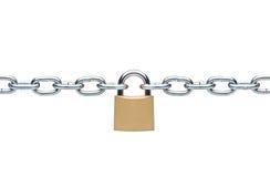 Cadeado Locked com correntes de prata imagem de stock