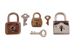 Cadeado velho e chave Imagem de Stock Royalty Free