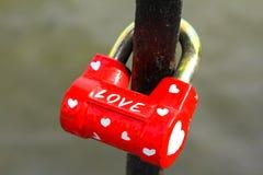 Cadeado vermelho Fotografia de Stock