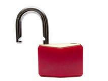Cadeado vermelho destravado Fotos de Stock Royalty Free