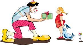 Cadeau actuel de clown à la petite fille illustration libre de droits