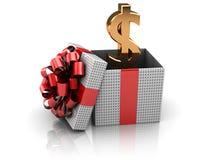 Cadeau avec de l'argent Images stock