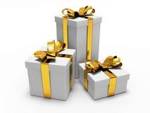 Cadeau avec le ruban d'or Photos libres de droits