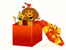 Cadeau avec lions illustration stock