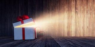 Cadeau blanc ouvert brillant avec le coeur rouge sur la table en bois illustration de vecteur