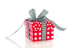Cadeau blanc rouge de carton Photo libre de droits