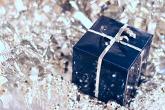 Cadeau bleu de Noël photo stock