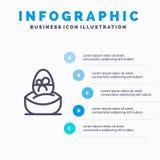 Cadeau, bouilli, Pâques, oeuf, ligne icône de nourriture avec le fond d'infographics de présentation de 5 étapes illustration stock