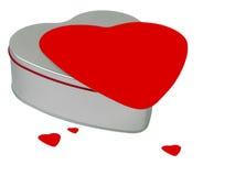 Cadeau-cadre en forme de coeur de Valentine avec les coeurs rouges Photographie stock libre de droits