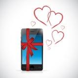 cadeau d'amour de téléphone avec des coeurs et des rubans Photos libres de droits
