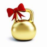Cadeau d'or d'haltère Images stock