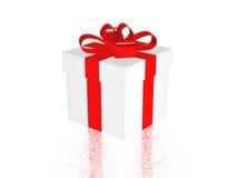 Cadeau dans 3d au-dessus d'un fond blanc Image libre de droits
