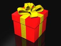 Cadeau dans 3d au-dessus d'un fond noir Photographie stock libre de droits
