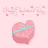 Cadeau dans la boîte en forme de coeur Carte de vacances Le jour de Valentine Images libres de droits