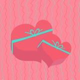 Cadeau dans la boîte en forme de coeur Carte de vacances Le jour de Valentine Photo libre de droits
