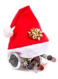 Cadeau dans le chapeau du ` s de Santa pour des pêcheurs Photo stock