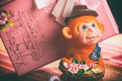 Cadeau dans une boîte rose de singes Images stock