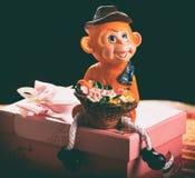 Cadeau dans une boîte rose de singes Photographie stock libre de droits