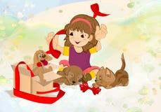 Cadeau de fille et d'animal familier Images stock