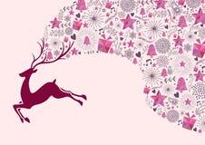 Cadeau de fond de carte de voeux de Noël de renne illustration libre de droits