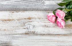 Cadeau de jour de mères des roses roses sur le fond en bois blanc rustique Photographie stock libre de droits