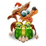 Cadeau de Noël avec le crabot mignon de Noël Photographie stock