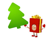 Cadeau de Noël avec le panneau de message illustration stock