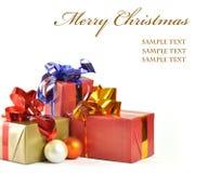 Cadeau de Noël d'isolement sur le fond blanc Photo libre de droits